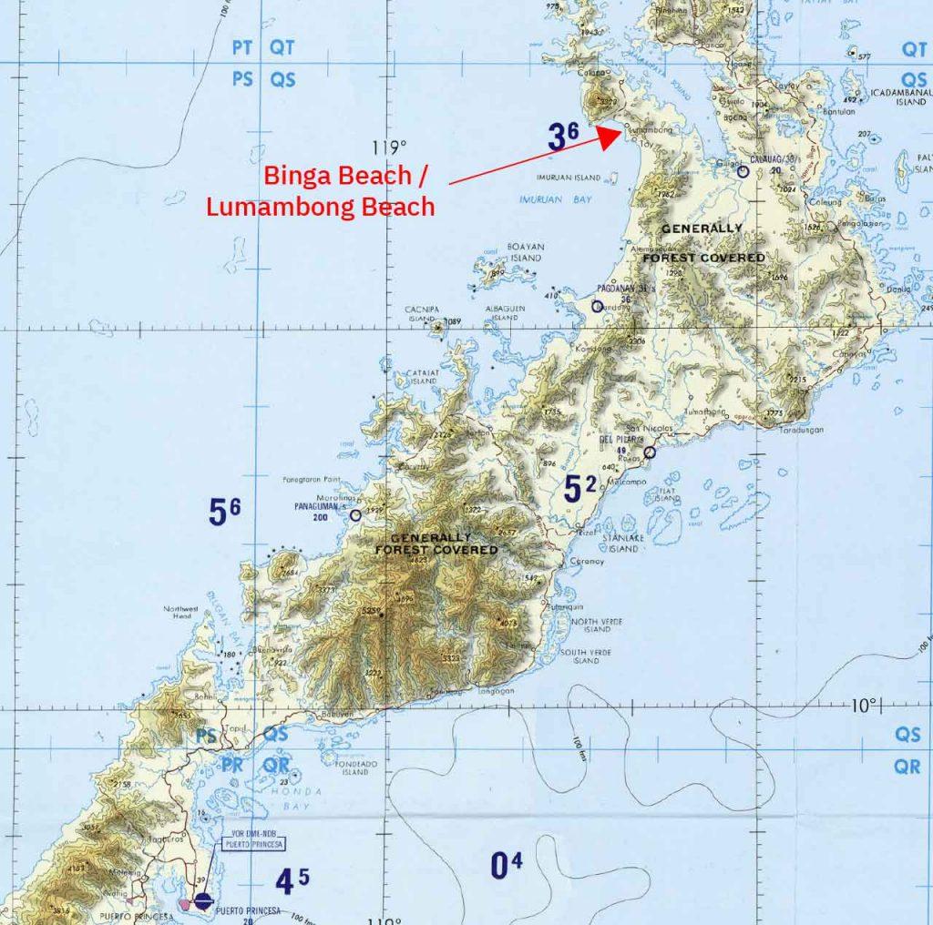 1983년 미국 국방 지도 작성국의 TPC K-11D 팔라완의 확대된 지도. 여기 보세요: