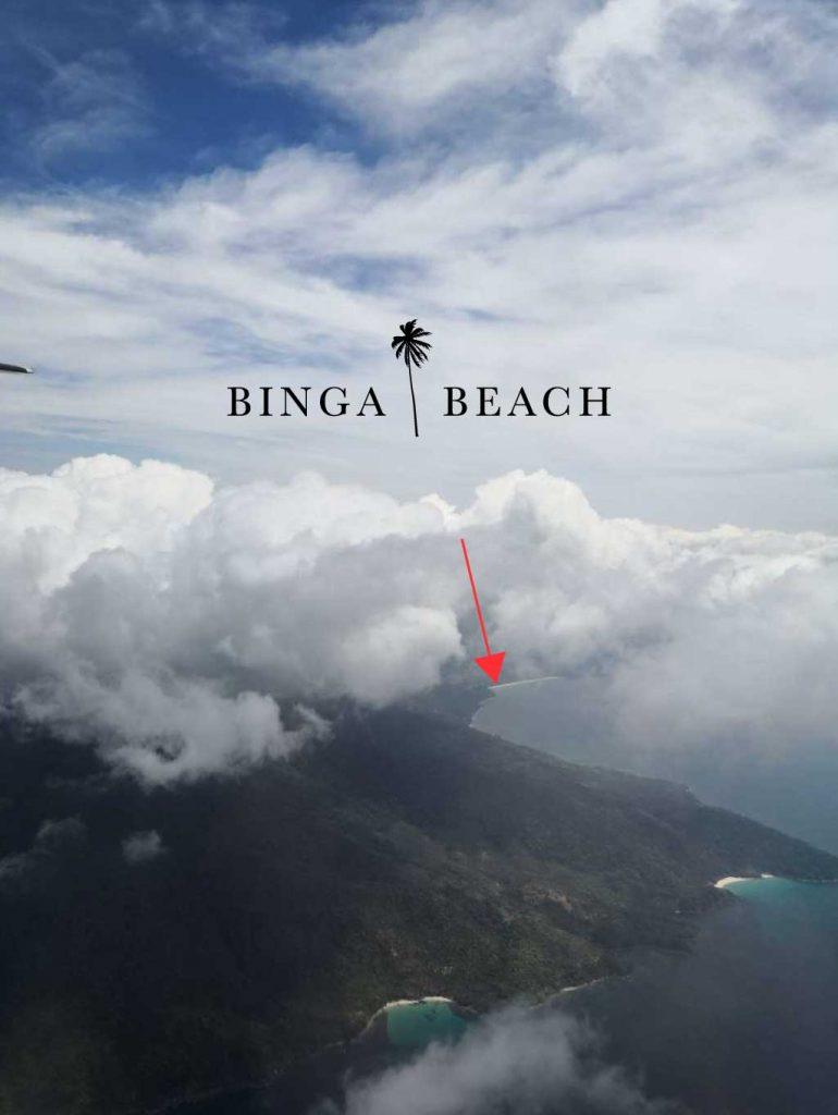 サンビンセントへ飛ぶ際、ルマンボンビーチからビンガビーチを望むことができます